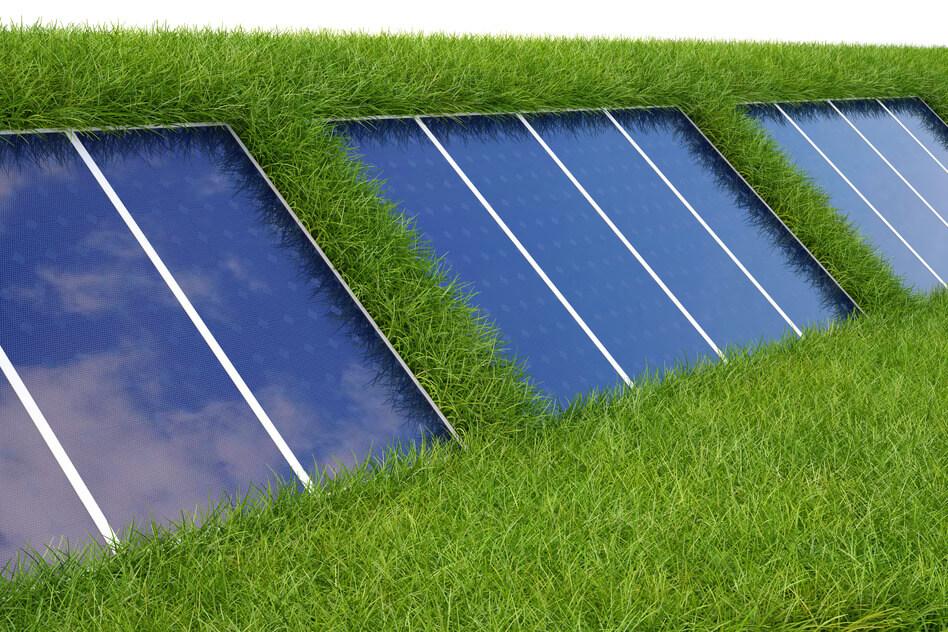 solar panel on the green grass.